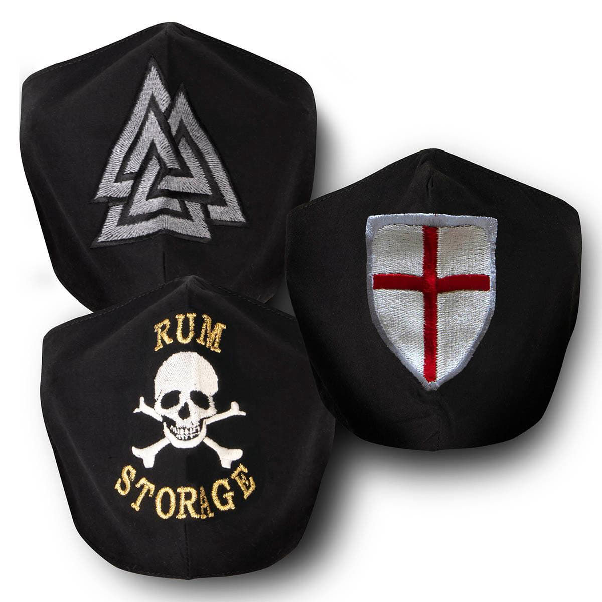 3 Black Cotton Face Masks Viking, Crusader and Pirate, with silk embroidery, adjustable straps and pocket for disposable filter,