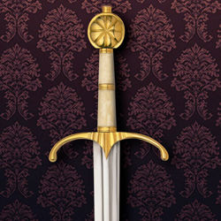Guinegate Sword with bone grip, brass pommel and guard and high carbon steel blade