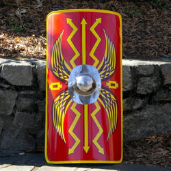 18 gauge steel Roman Scutum shield is hand-painted with eagle wings and thunderbolts has polished steel boss and steel handle