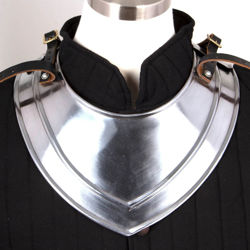 18 gauge steel medieval gorget for upper shoulder protection has 2 sets of adjustable leather straps, made by Noble Armoury