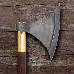 Windlass Replica Langeid Two-Handed Broadaxe with 1055 high carbon steel blade, brass collar, stained hardwood shaft