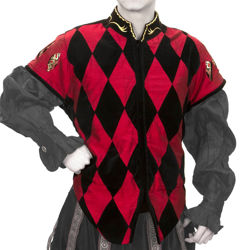 Black velvet Courtly Tunic with red diamond harlequin pattern and red taffeta sleeve caps with eye-shaped cutaways