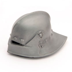 miniature pewter Knightly Sallet helmet for paperweight or home decor has felt-covered bottom for anti-scratching