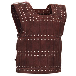 suede leather historical armor vest with padded design for extra protection and two adjustable buckle straps in the back