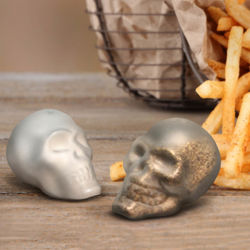 Doomed Skull Salt & Pepper shakers are hand-blown borosilicate glass with a satin finish
