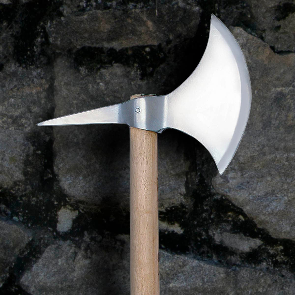 replica one-handed medieval axe with high carbon steel head with back spike and hardwood shaft, made by Windlass
