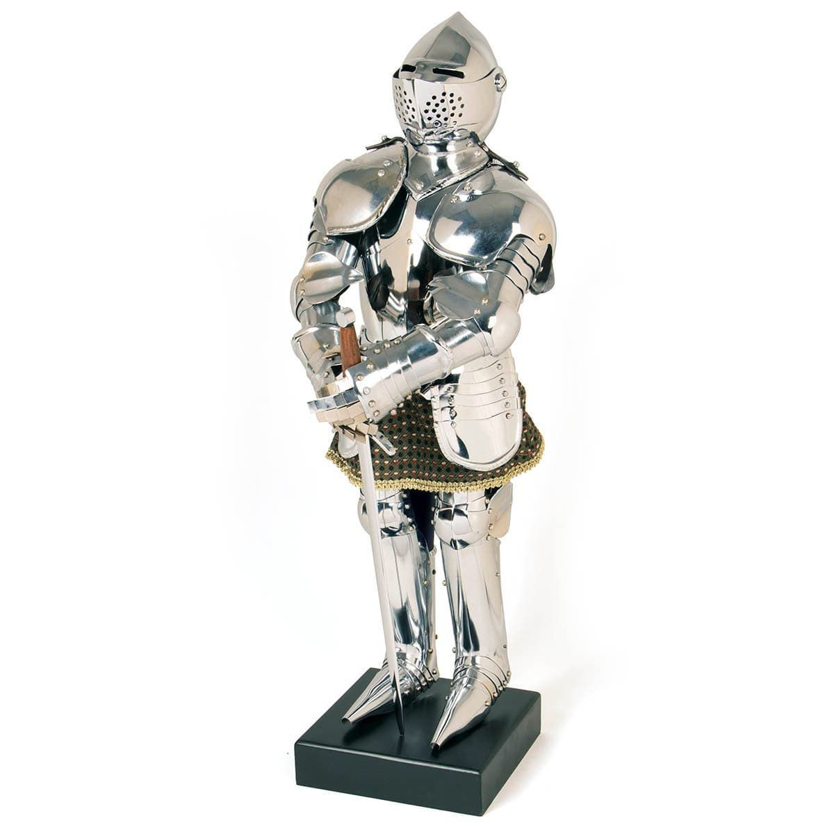 Miniature Suit of Armour has moveable joints and riveted plates with each part separate like a full sized suit