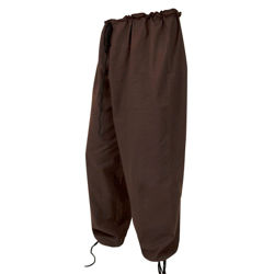 "Brown 100% cotton pants with drawstring waist fit sizes 28""-50"". Can be worn loose, tucked inside boots or wrap the legs with cord"