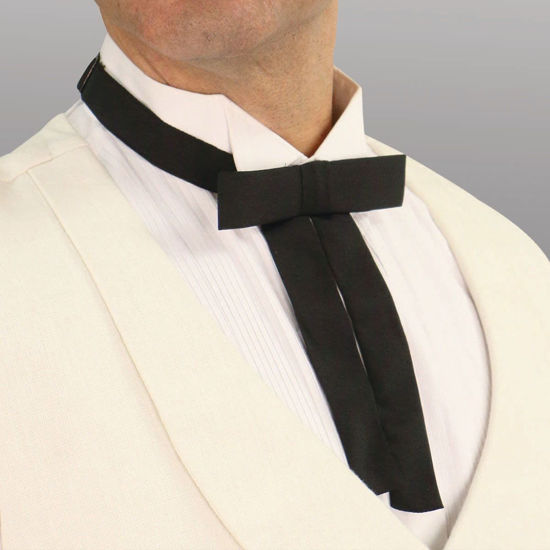 pre tied string tie for old west, riverboat gambler, British Teddy Boys, country music, square dancing and rockabilly fashion