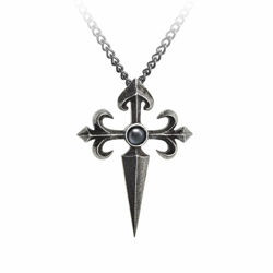 pewter pendant of Cross of St. James or Santiago Cross has fleurs-de-lis arms, a sword-pointed shaft and hematite cabochon