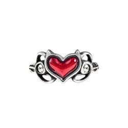 delicate pewter Little Devil ring with blood-red enameled Devil's heart flanked by two Swarovski white crystals