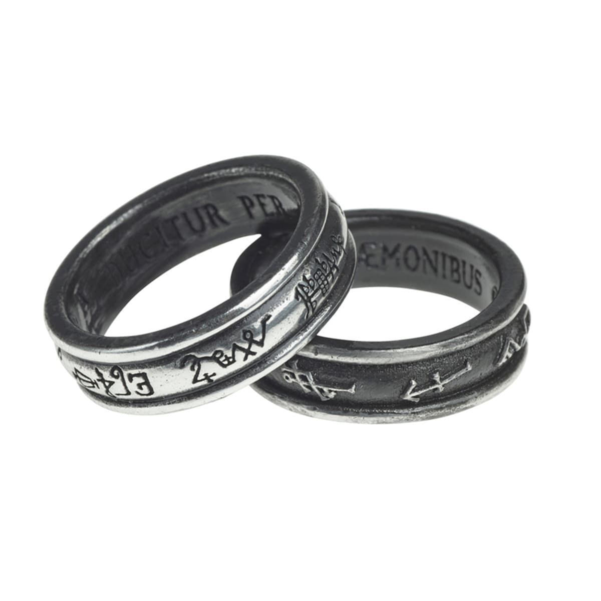 Alchemy Demon Black & Angel White Pewter Rings inscribed with signatures of Angels and demons. Turn the rings to align the signatures