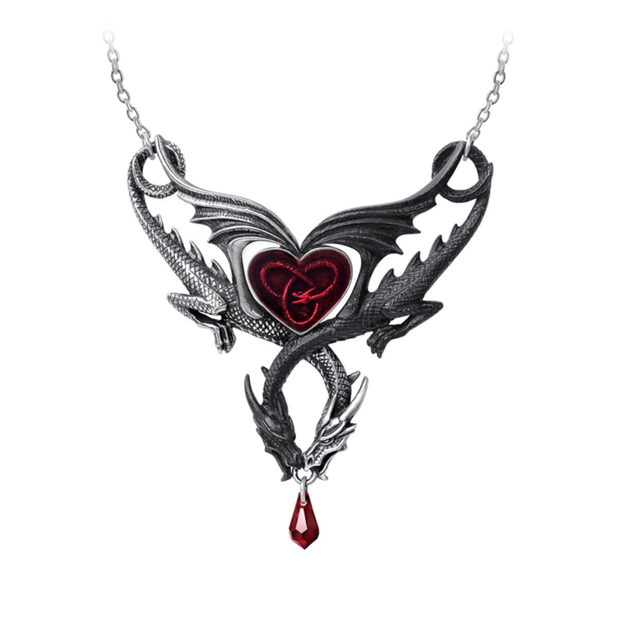 pewter necklace has two intertwined dragons, one black, one silver, red enameled heart in center and red Swarovski teardrop crystal