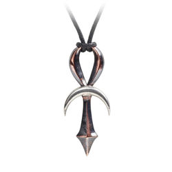 Alchemy bronzed pewter gothic ankh pendant, with horizon bar made in the form of a polished pewter silver crescent moon