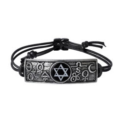pewter tablet engraved with alchemical symbols sun, moon, spirit, salt, sulfur, and mercury around Solomon's Seal on cord bracelet