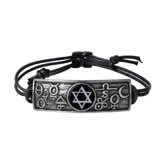 pewter tablet engraved with alchemical symbols sun, moon, spirit, salt, sulfur, and mercury around Solomon's Seal on cord bracelet