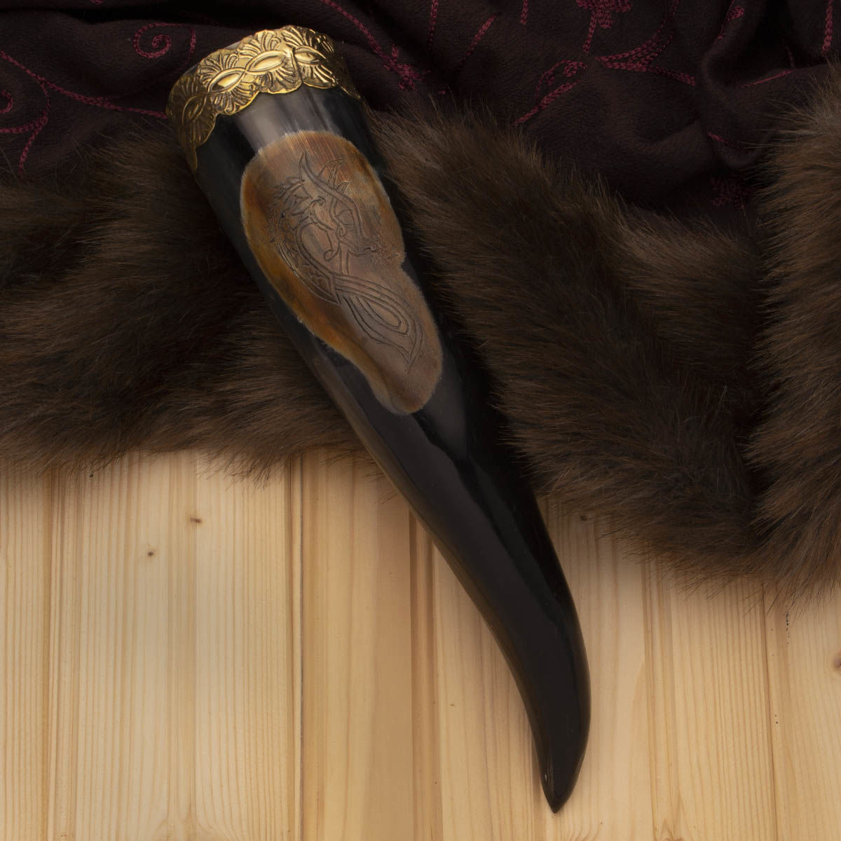 Drinking Horn engraved with famous Viking Dragon Head is fully functional but slightly de-laminated at the mouth