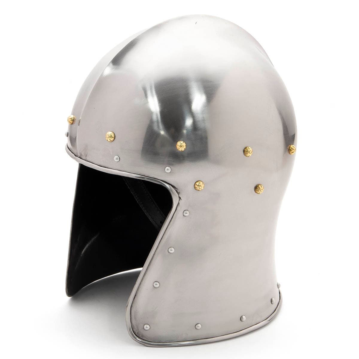 Barbute tall visorless 18 gauge steel medieval helmet by Noble Armoury with decorative brass and steel rivets