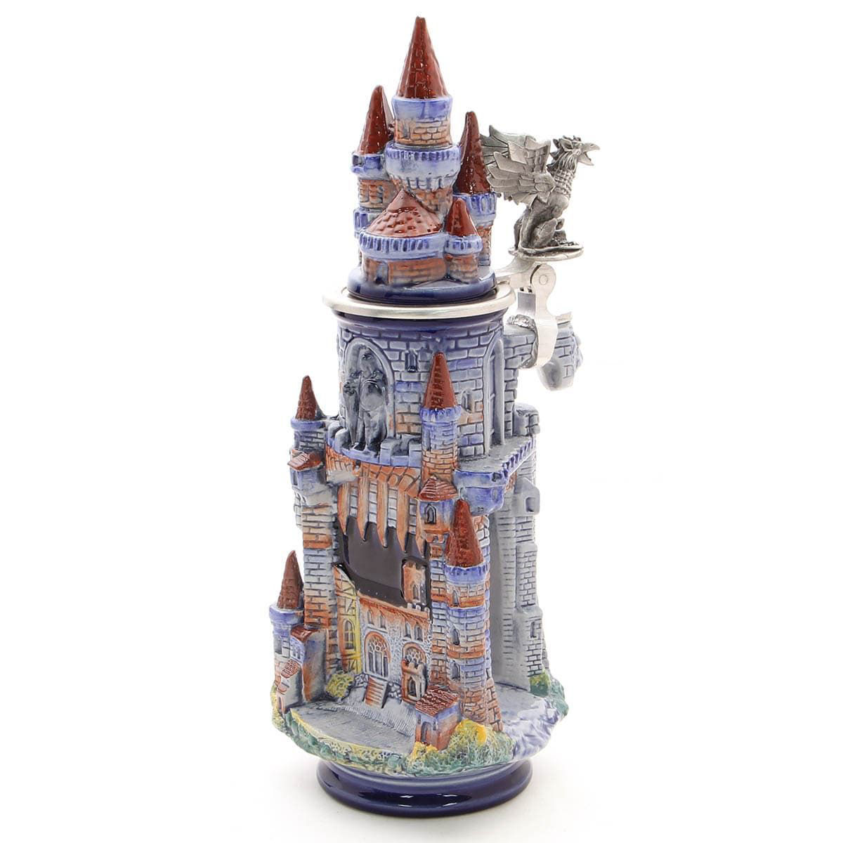 Limited edition stoneware fantasy castle stein with towers, gates, masonry, and cobblestone roads is made in Germany.
