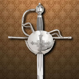 Musketeer rapier has ambidextrous basket hilt plated with nickel silver and wood grip wrapped with twisted wire