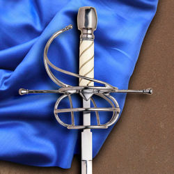 Windlass Deschaux Renaissance rapier has three-ringed swept hilt, wire wrapped bone grip, high carbon steel blade and includes scabbard
