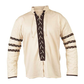 Lace-up cotton shirt has lightly padded sleeves with Nordic string design. Can be worn alone or under a sleeveless doublet