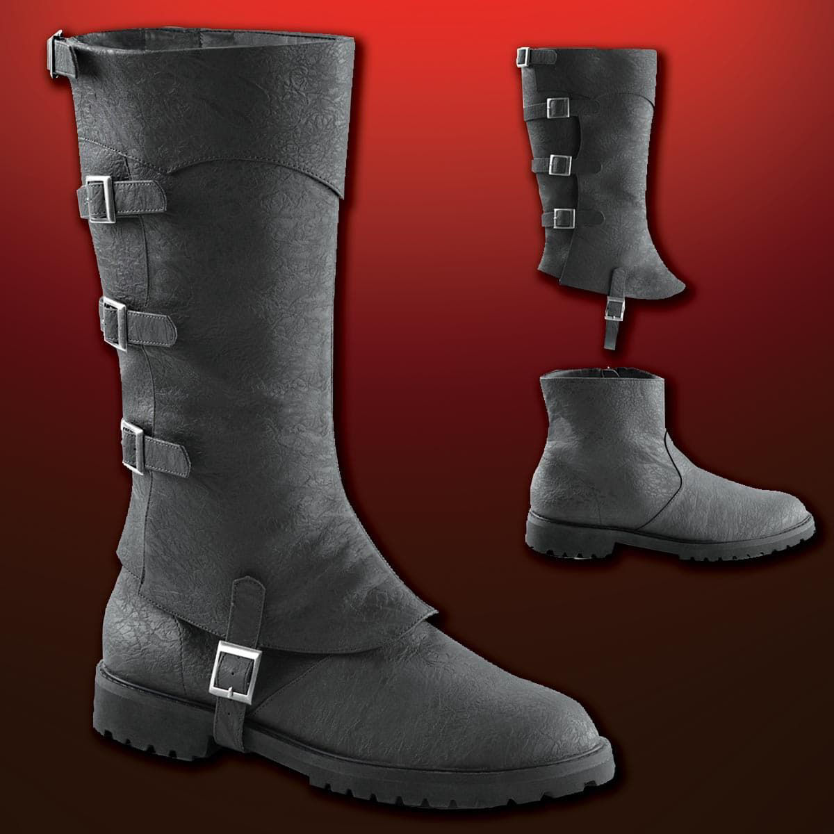 Black two-part faux leather boots have a short, slip-on ankle boot and faux leather upper gaiter with buckles