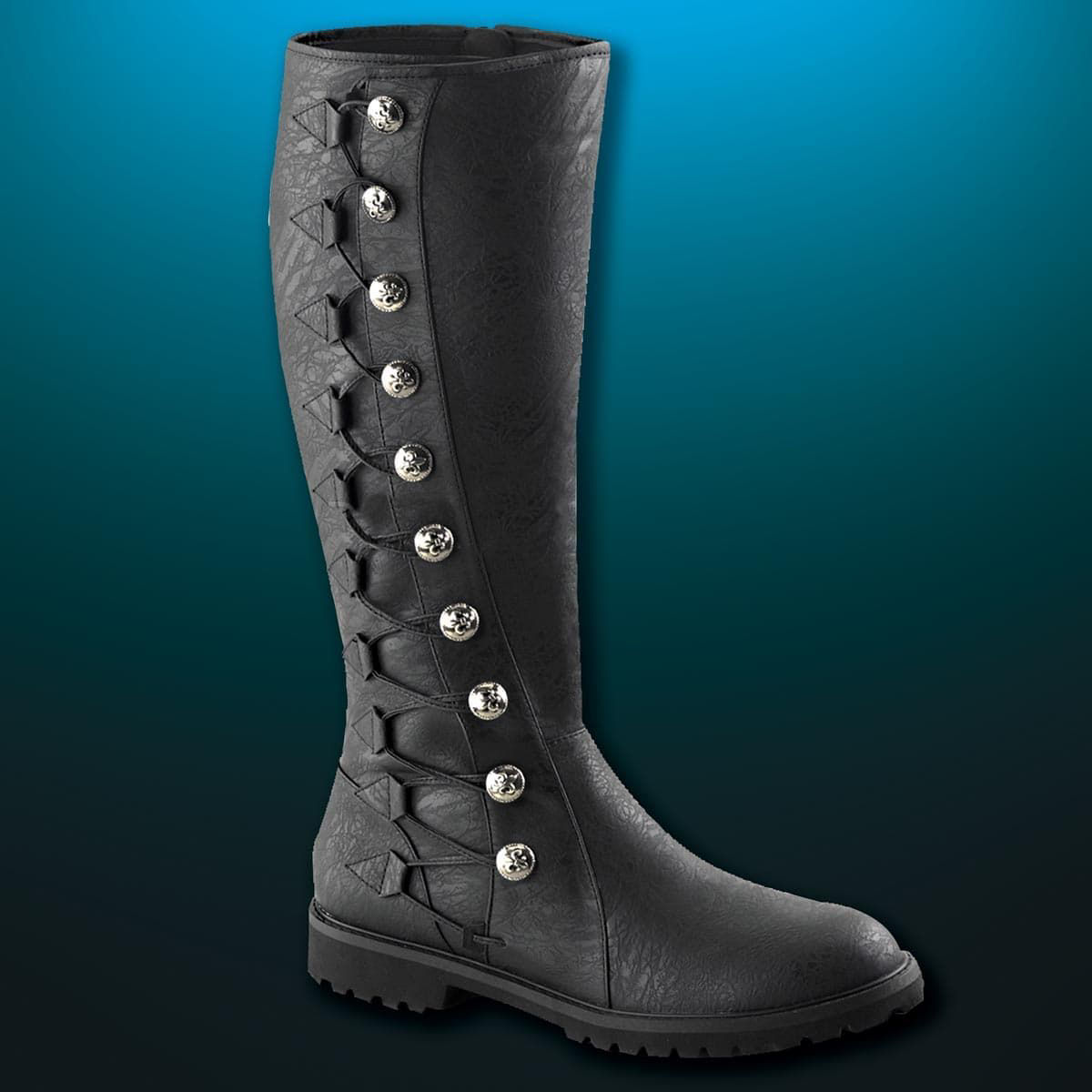 faux leather Renaissance boots with thick rubber anti-skid soles, buttons and lacing with small hidden zipper