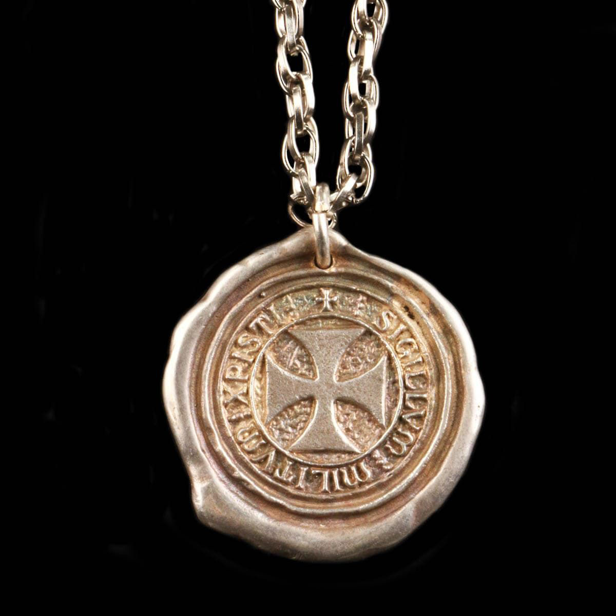 """metal Knights Templar Pendant resembles wax seal of the Order of the Knights Templar, has Latin inscription and thick 30"""" chain"""