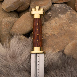 Circa 750 Replica Seax with sharp high carbon steel blade and wood grip with brass tacks, brass guard and brass pommel